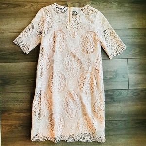 Zara Dresses - Zara Basic Nude/Light Pink Lace Dress